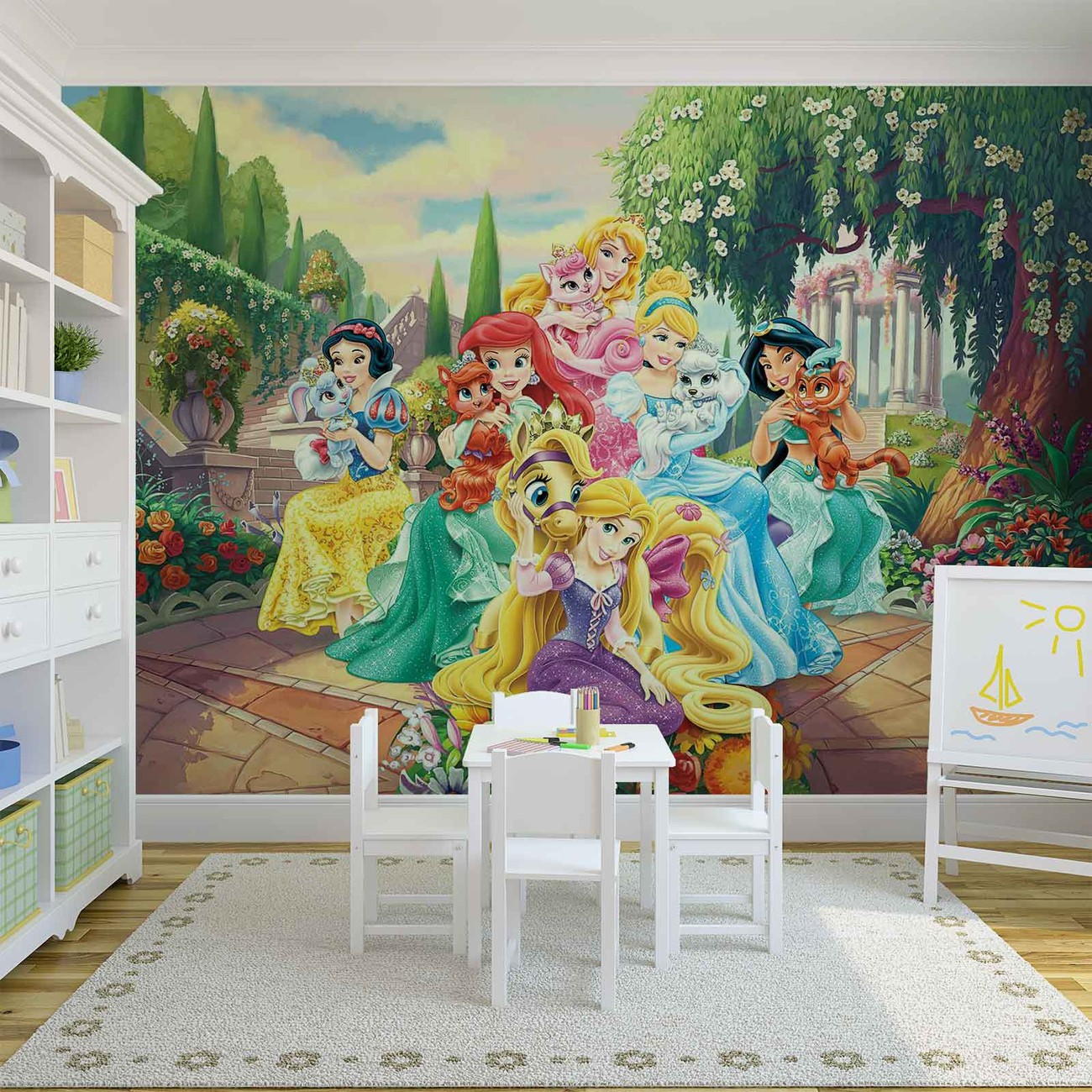 Disney princesses rapunzel ariel wall paper mural buy at for Disney wall mural uk