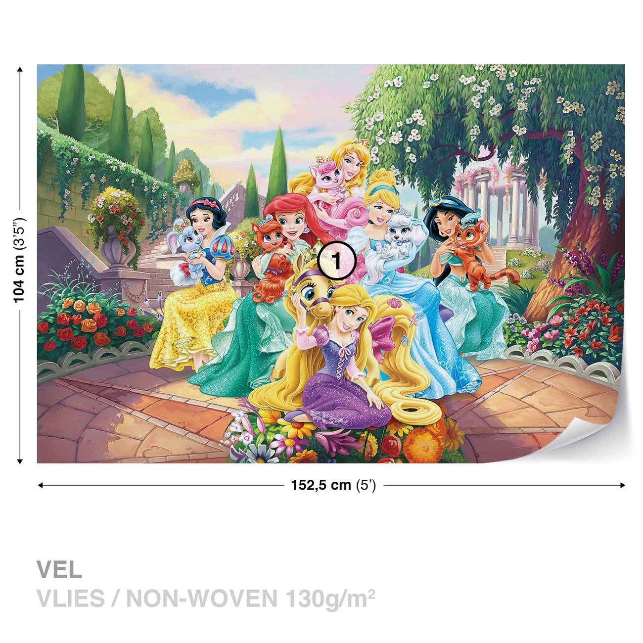 Disney princesses rapunzel ariel wall paper mural buy at for Disney princess wall mural