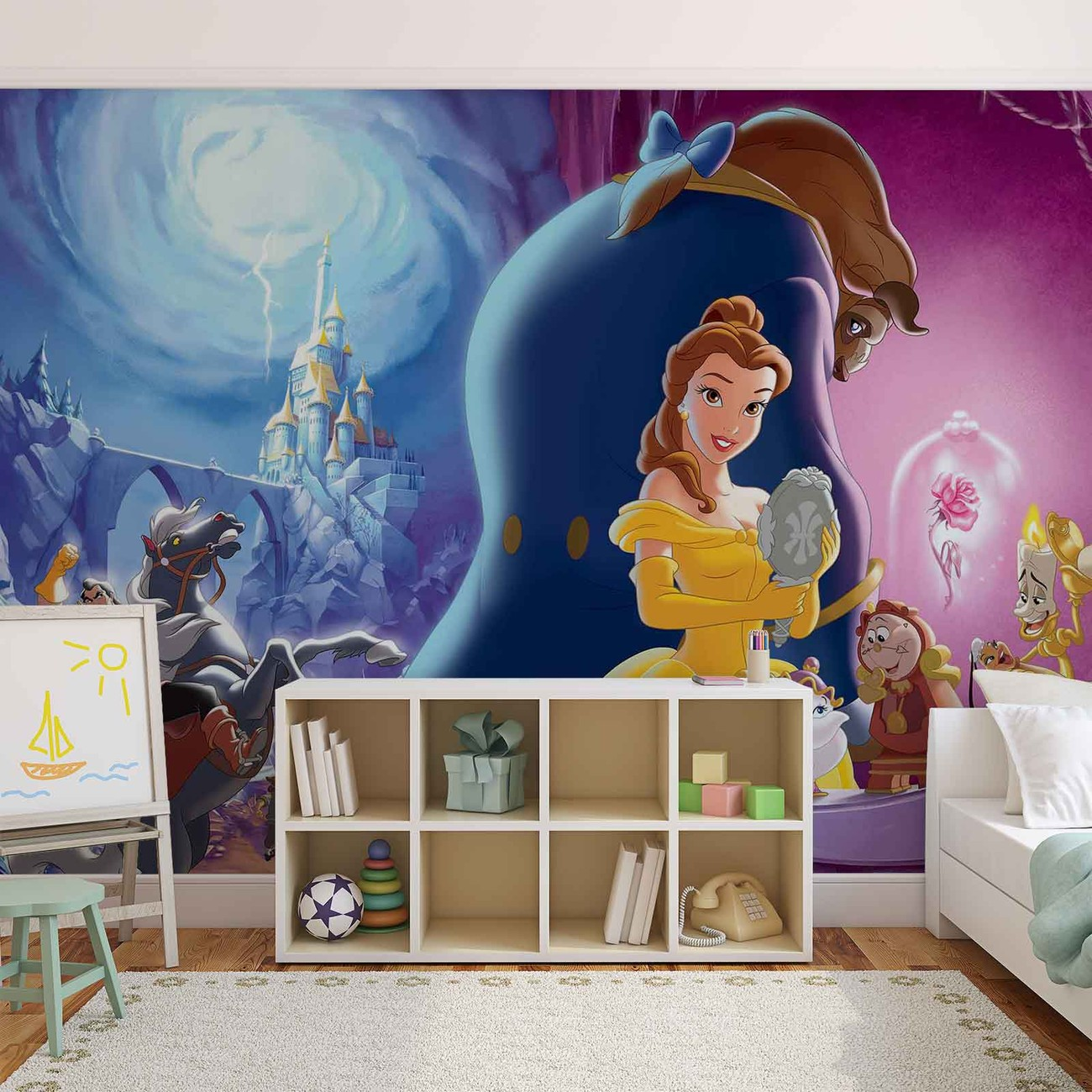 Disney princesses belle beauty beast wall paper mural for Disney wall mural
