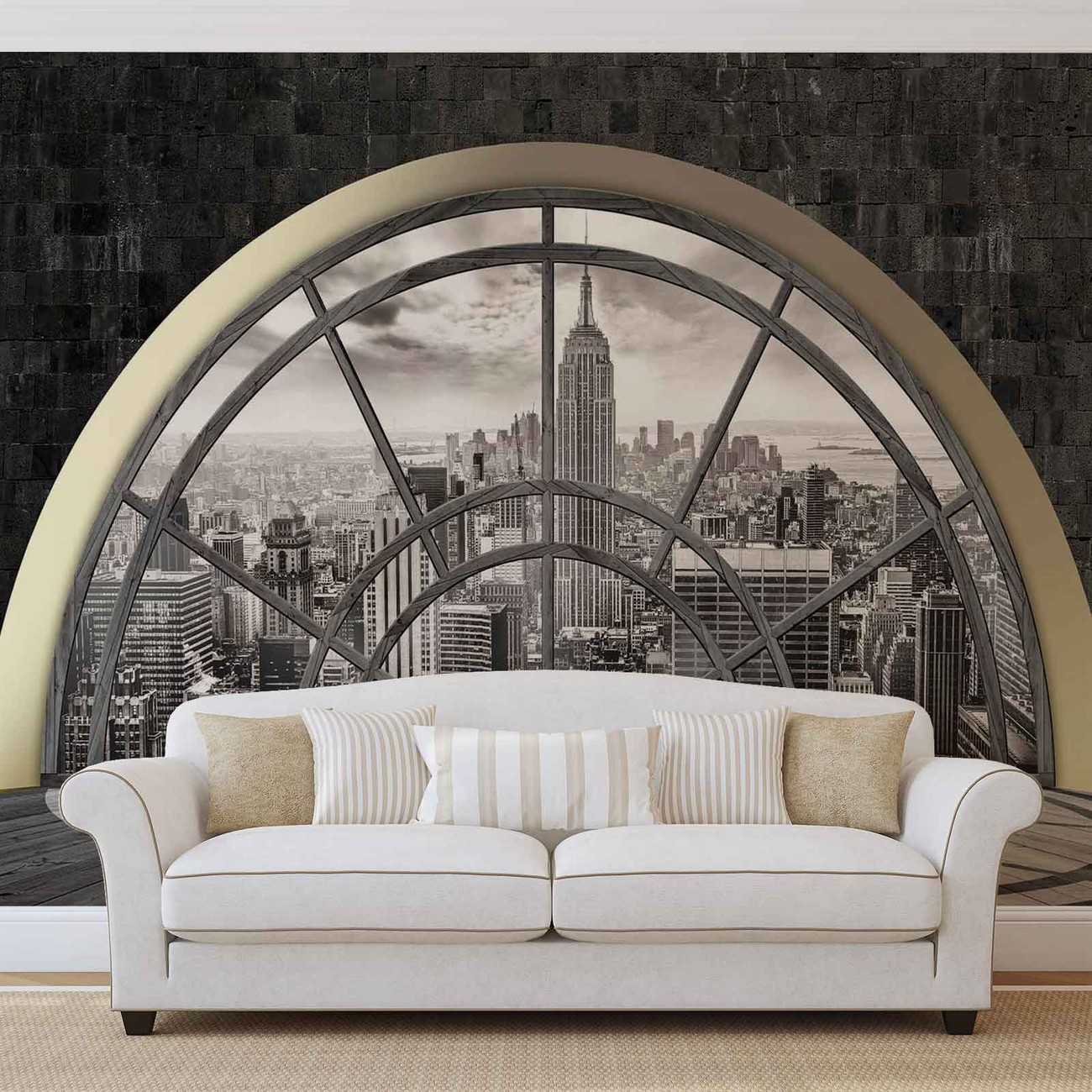 new york city skyline window wall paper mural buy at. Black Bedroom Furniture Sets. Home Design Ideas