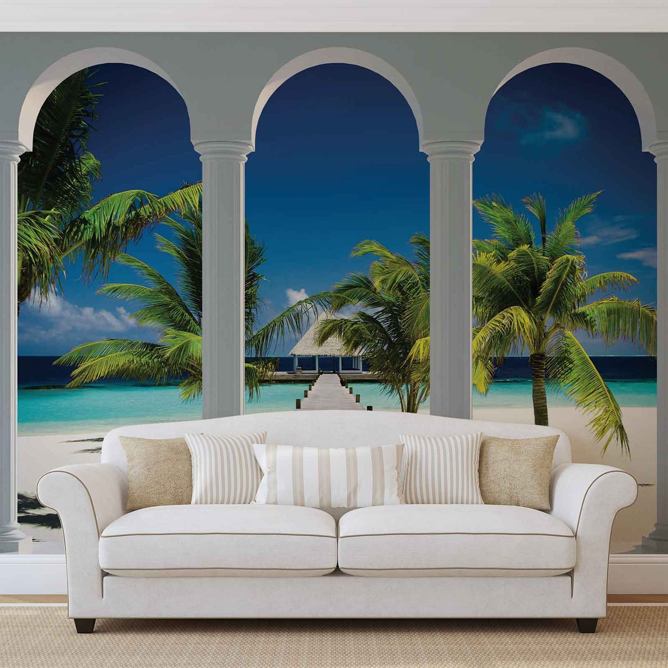 Beach tropical paradise arches wall paper mural buy at for Poster murali giganti