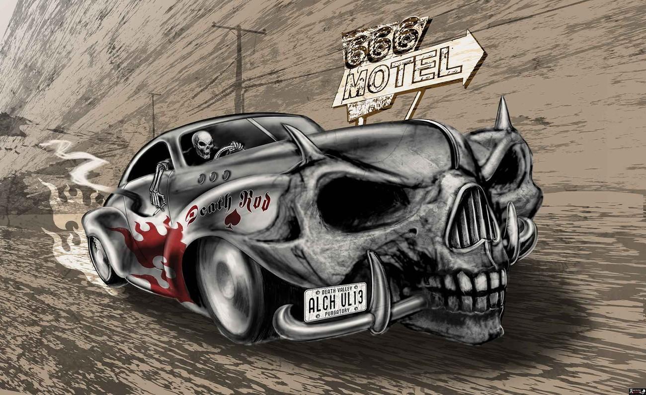 Alchemy death hot rod car skull wall paper mural buy at europosters alchemy death hot rod car skull wallpaper mural voltagebd Images
