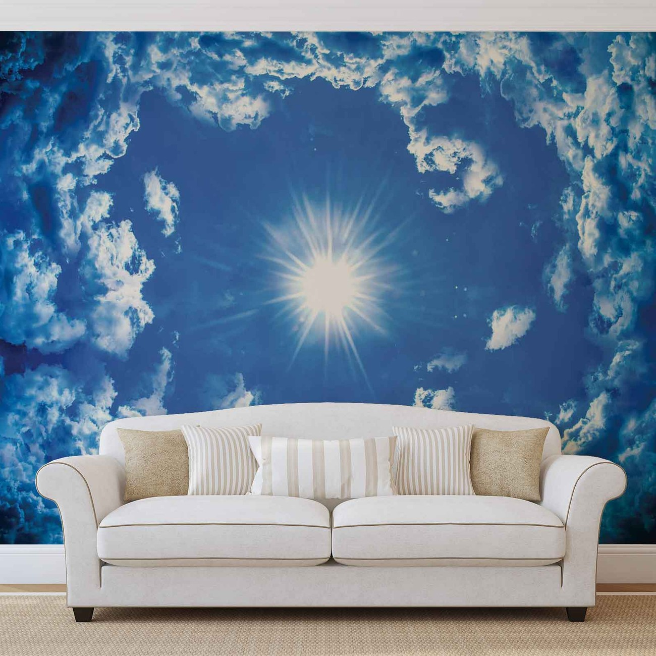 sky clouds sun nature wall paper mural buy at europosters. Black Bedroom Furniture Sets. Home Design Ideas