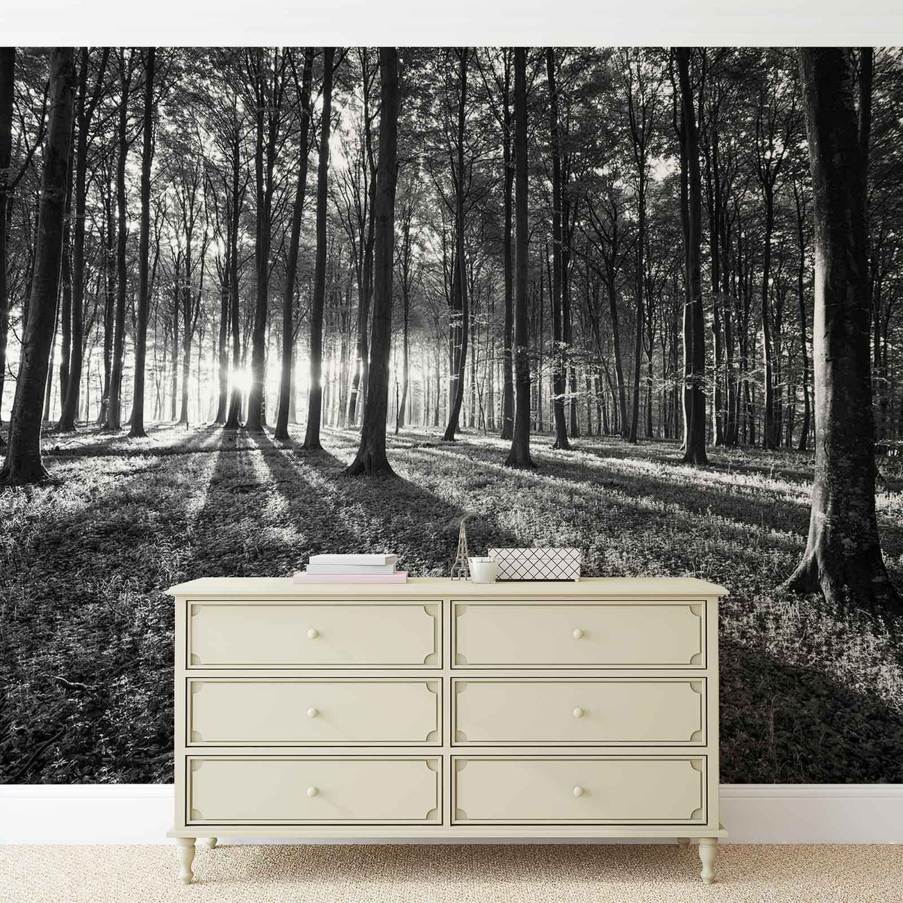 Forest trees beam light nature wall paper mural buy at for Mural lighting