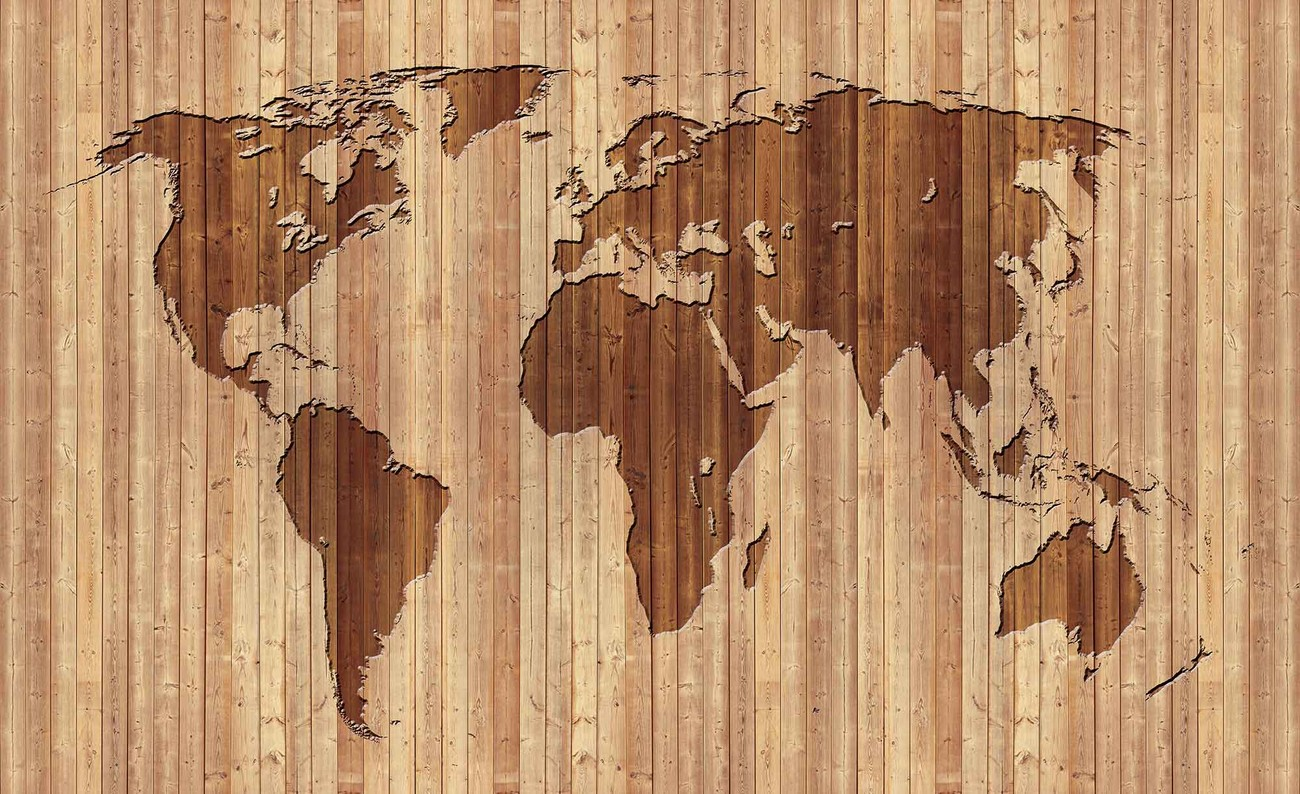 World map wood wall paper mural buy at europosters world map wood wallpaper mural gumiabroncs Gallery