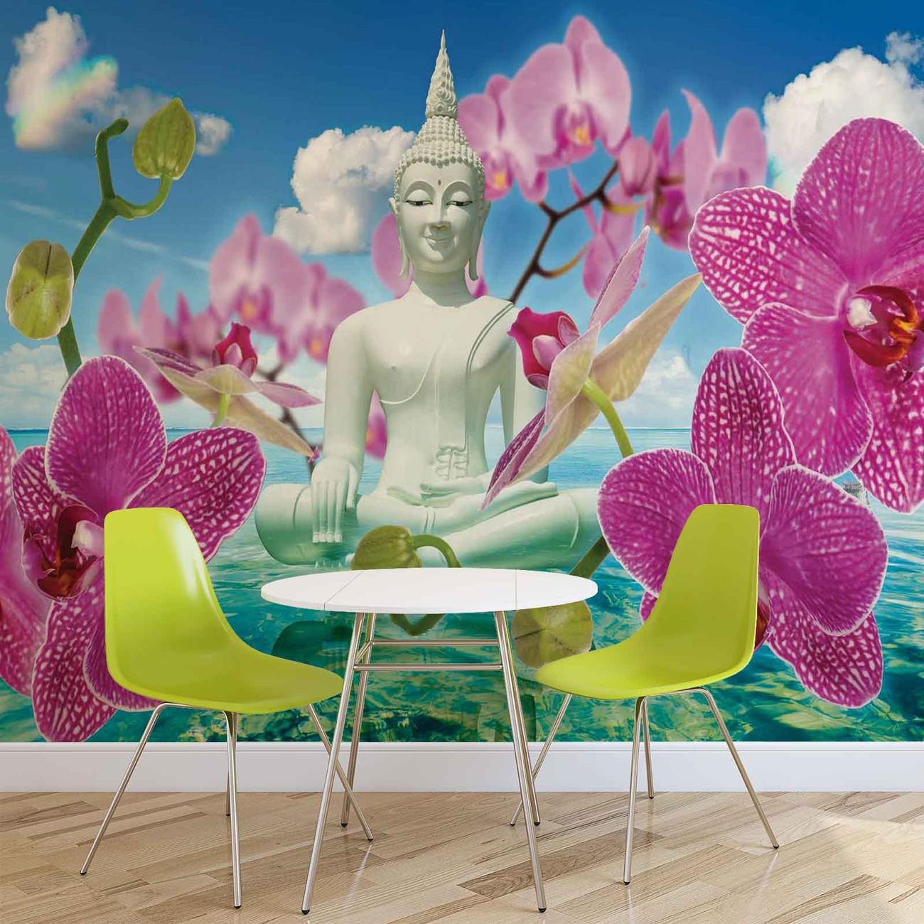 Wall Mural Photo Wallpaper Xxl Flowers Orchids Texture: Zen Flowers Orchids Buddha Water Sky Wall Paper Mural