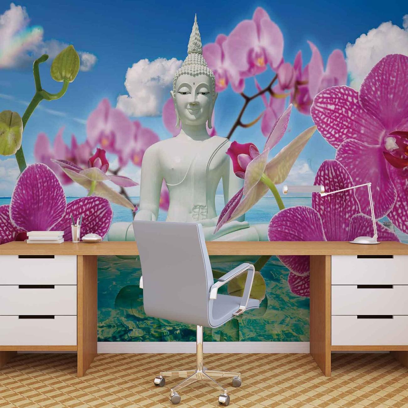 Zen flowers orchids buddha water sky wall paper mural for Poster mural zen deco