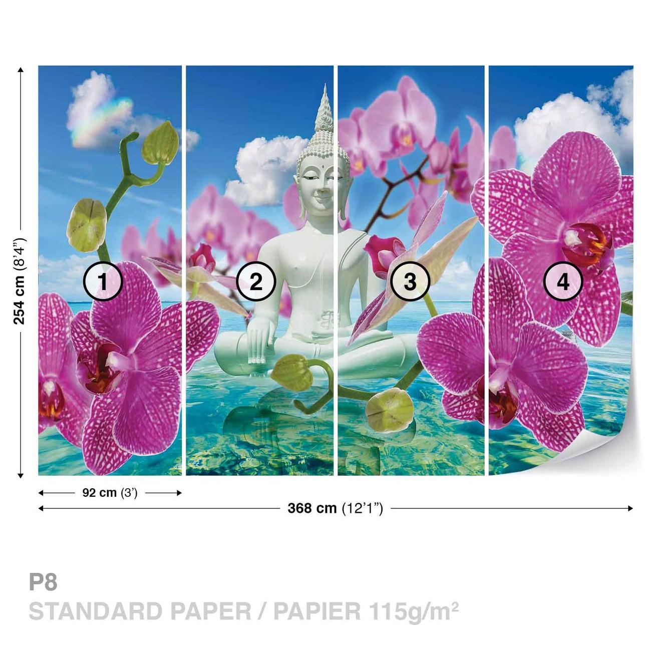 Zen flowers orchids buddha water sky wall paper mural for Poster mural geant zen