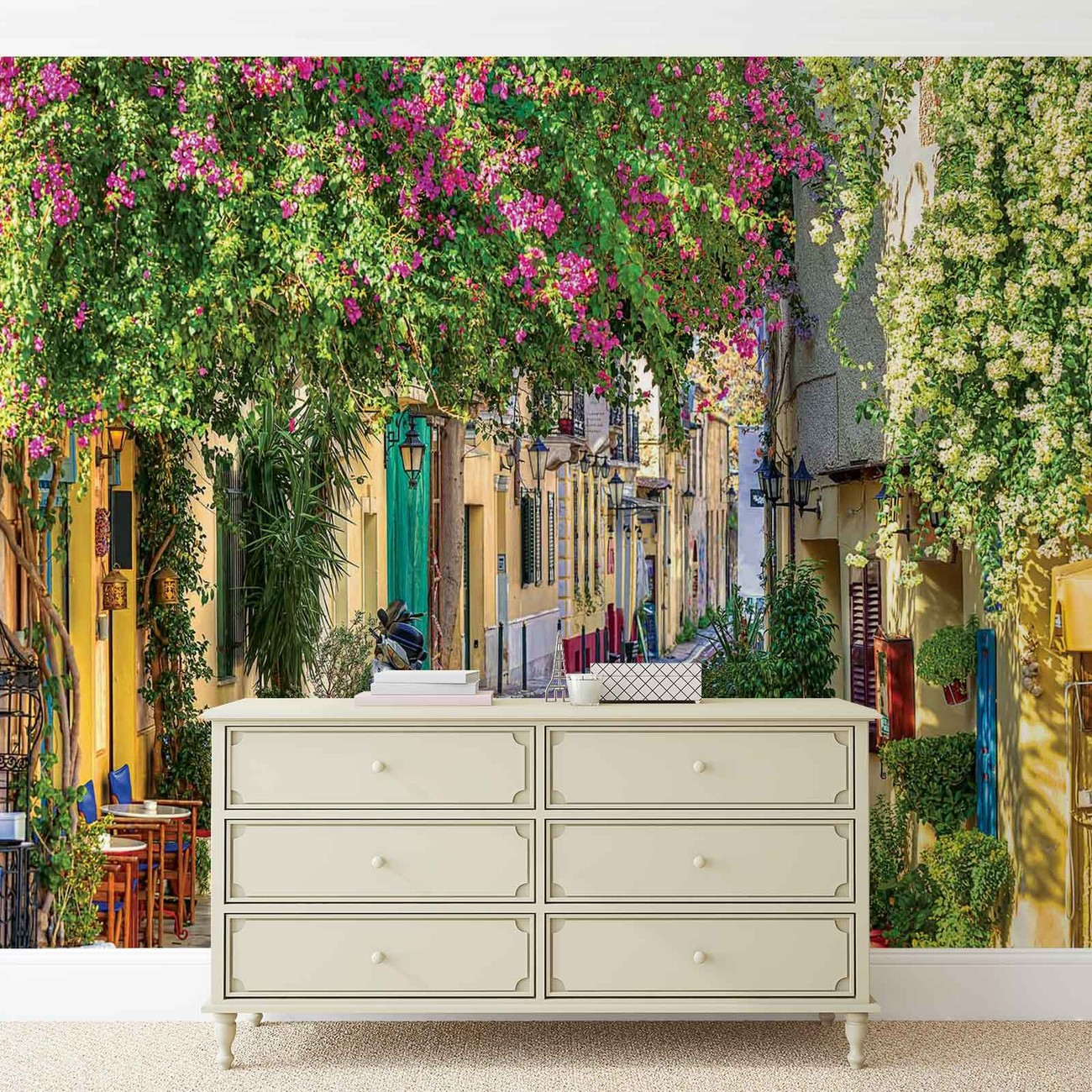 Flower street way caf wall paper mural buy at europosters for Cafe wall mural
