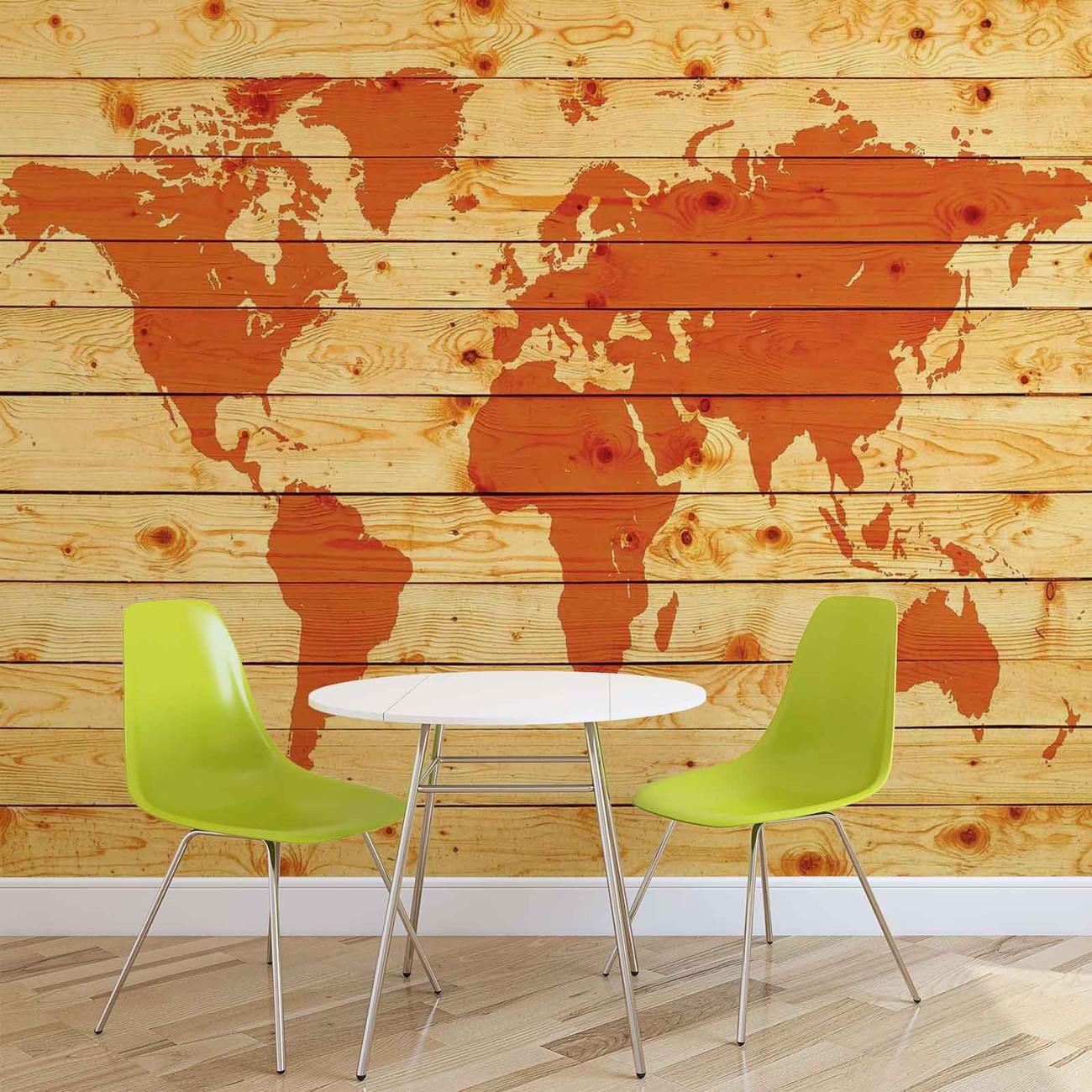 Planches de bois de carte du monde poster mural papier for Acheter planche de bois