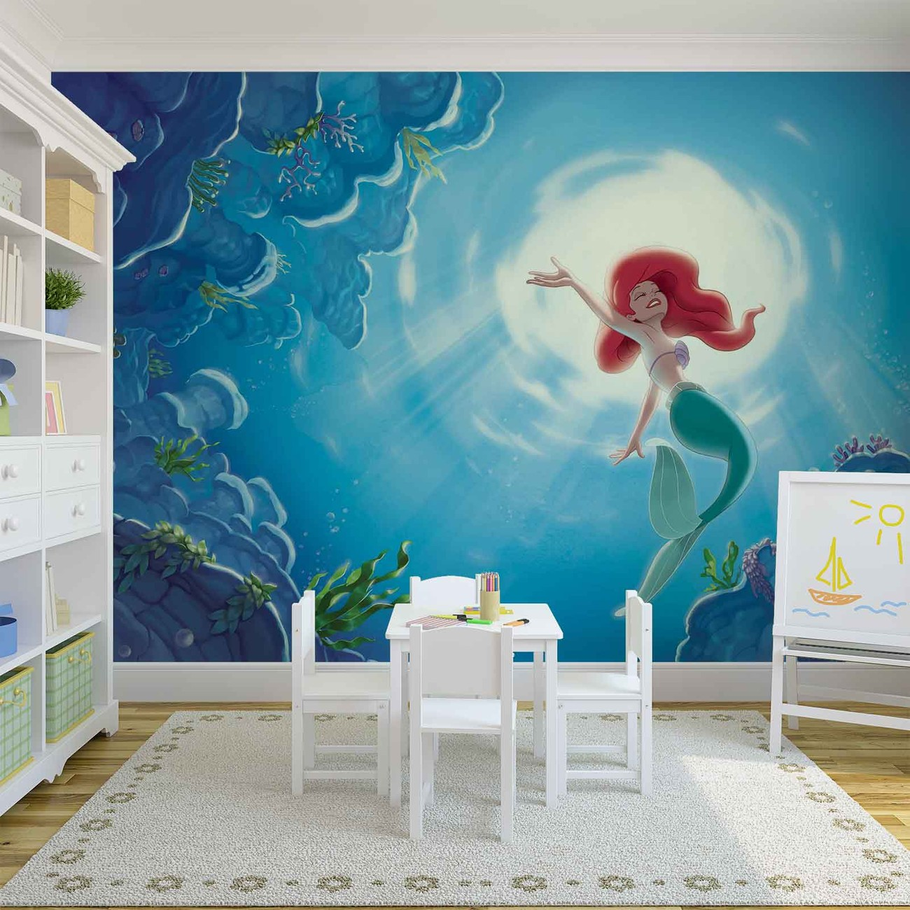 Disney little mermaid ariel wall paper mural buy at for Disney wall mural