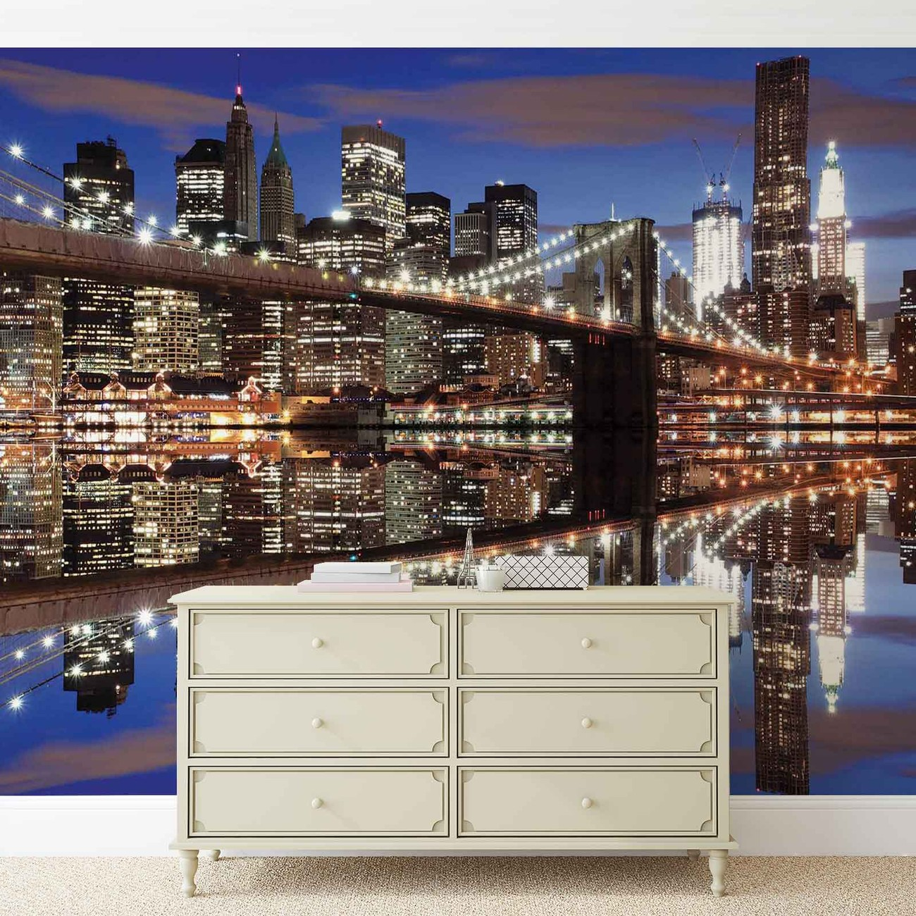New york brooklyn bridge night wall paper mural buy at for Poster mural geant new york