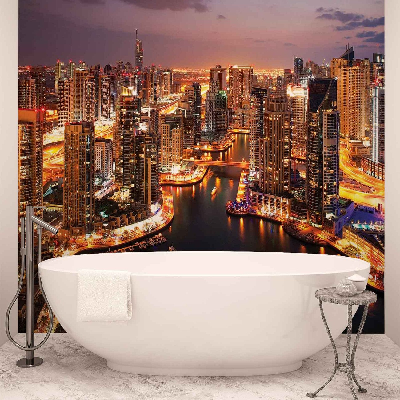 City dubai marina skyline wall paper mural buy at for Cityscape wall mural