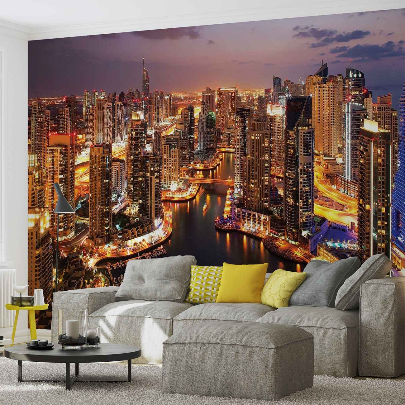 City dubai marina skyline wall paper mural buy at for Cityscape murals photo wall mural