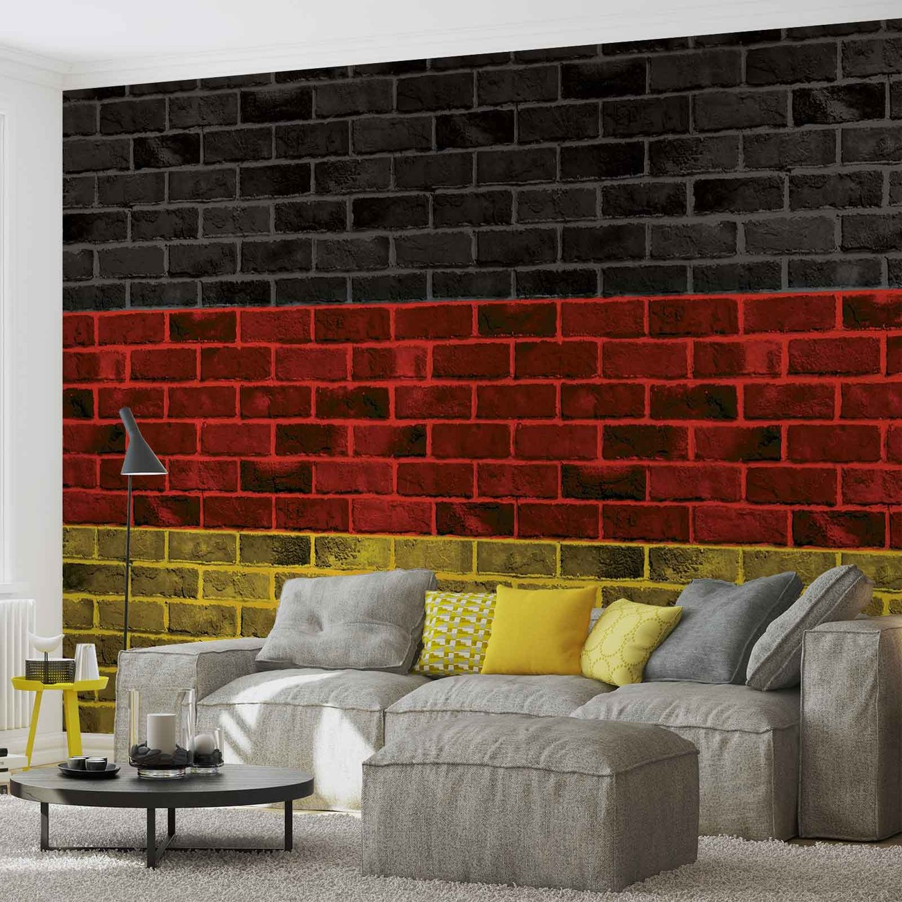 Brick german flag wall paper mural buy at europosters for Brick wall mural decal