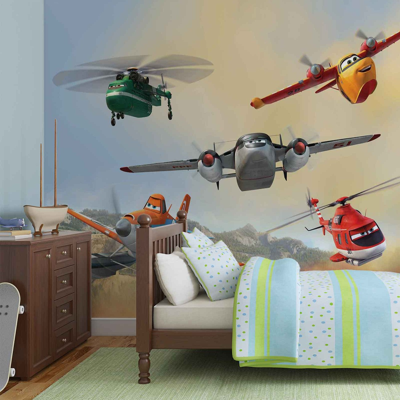 Disney planes dusty blade dipper cabbie wall paper mural for Disney wall mural uk
