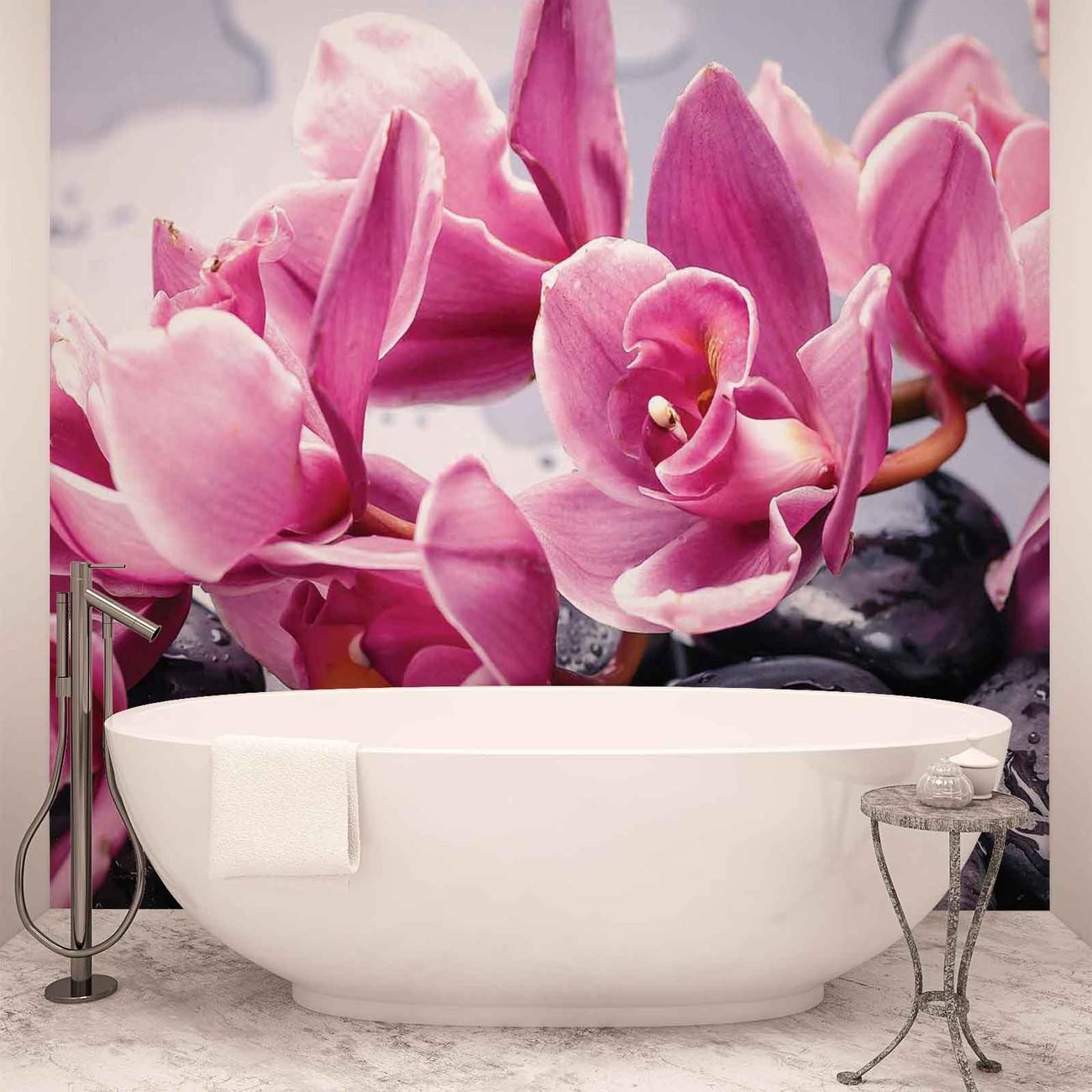 Flowers orchids stones zen wall paper mural buy at for Poster mural zen deco