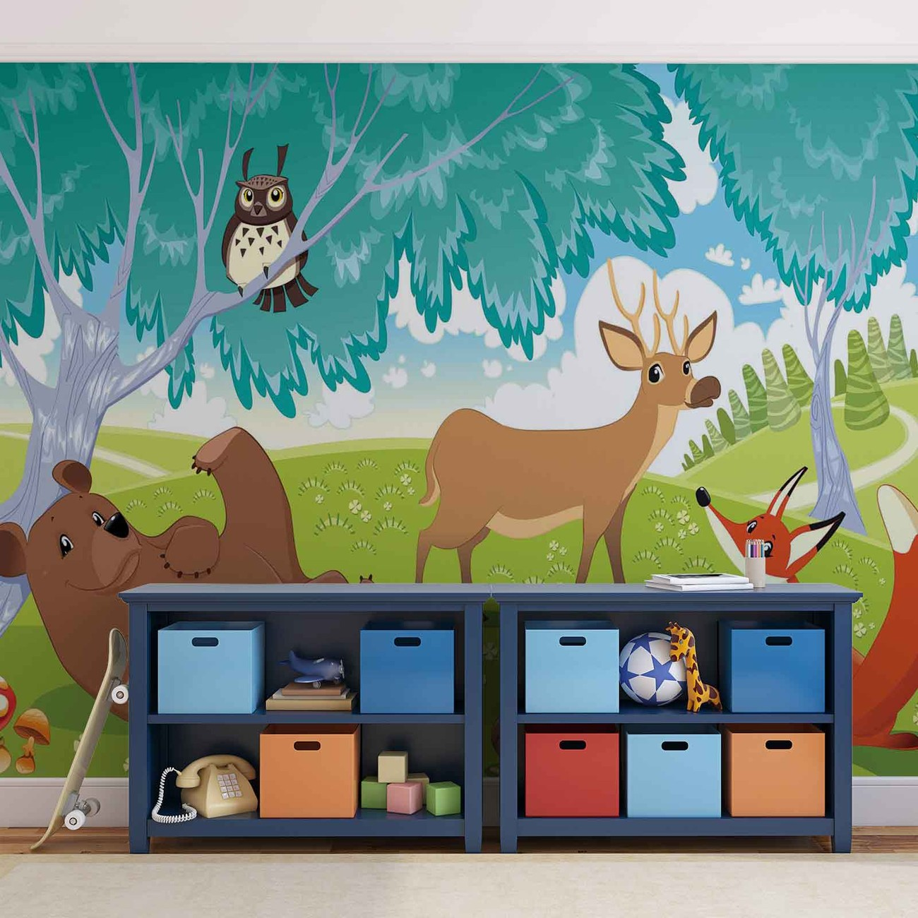 Animals in forest wall paper mural buy at europosters for Animal wall mural