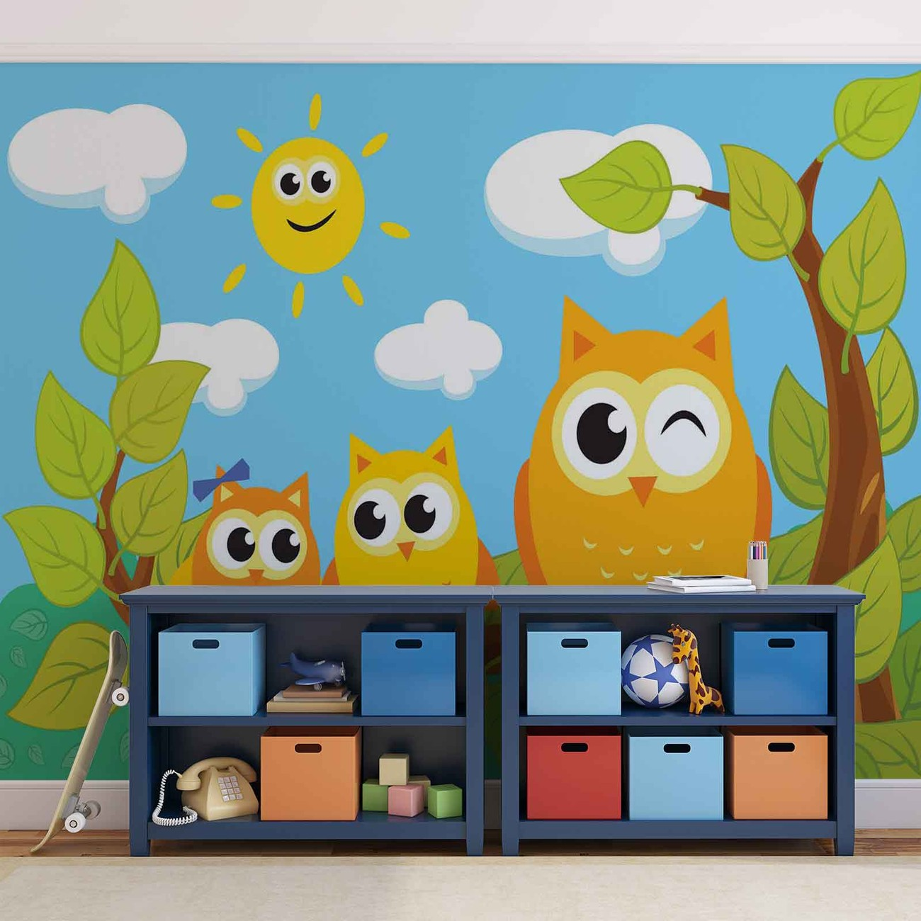 Owls tree wall paper mural buy at europosters for Bird and owl tree wall mural set