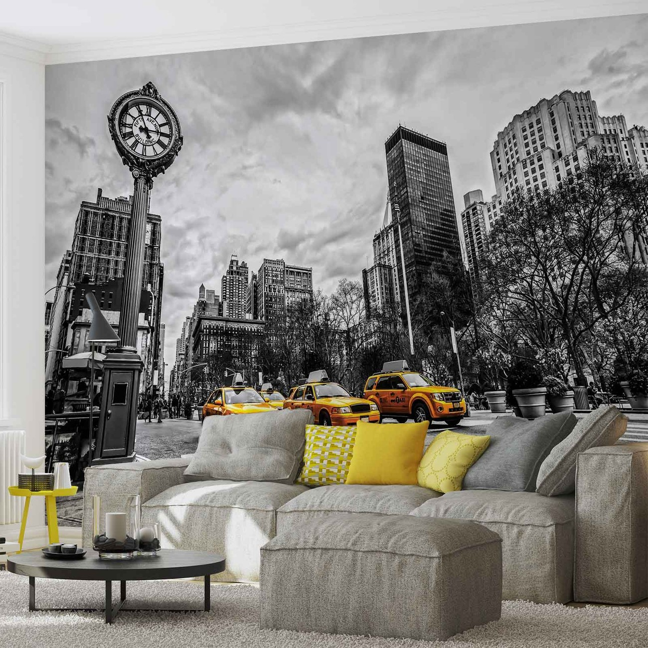 New york city cabs wall paper mural buy at europosters for Buy mural wallpaper