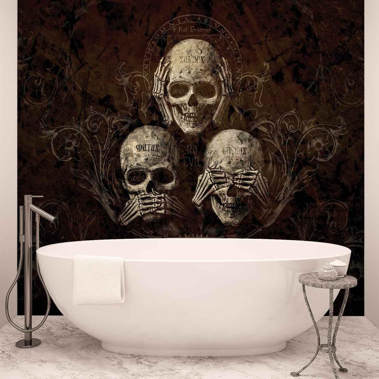 Tattoos skulls wallpaper murals buy online at europosters no listen see speak skull alchemy amipublicfo Images