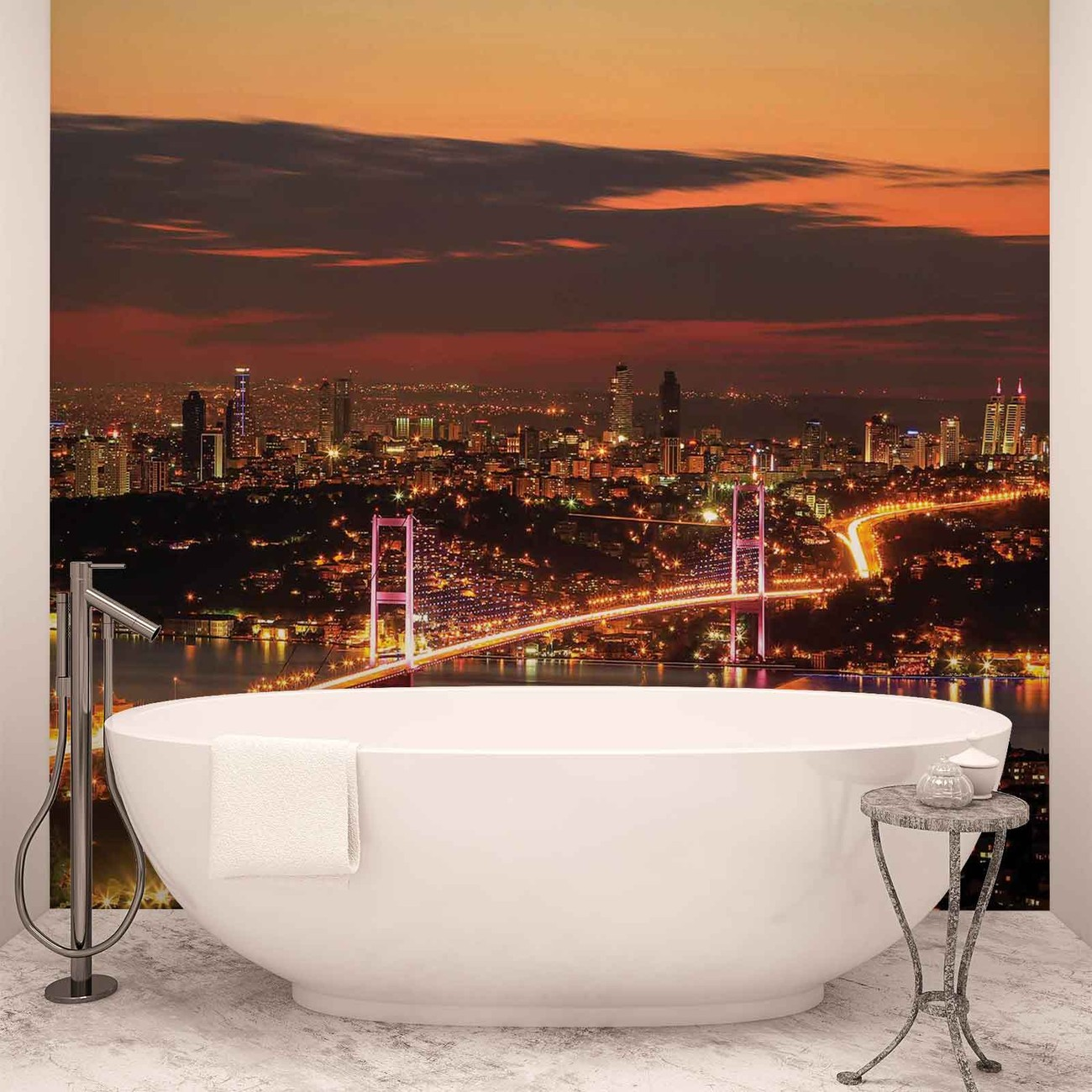 City skyline istanbul bosphorus wall paper mural buy at for City scape wall mural