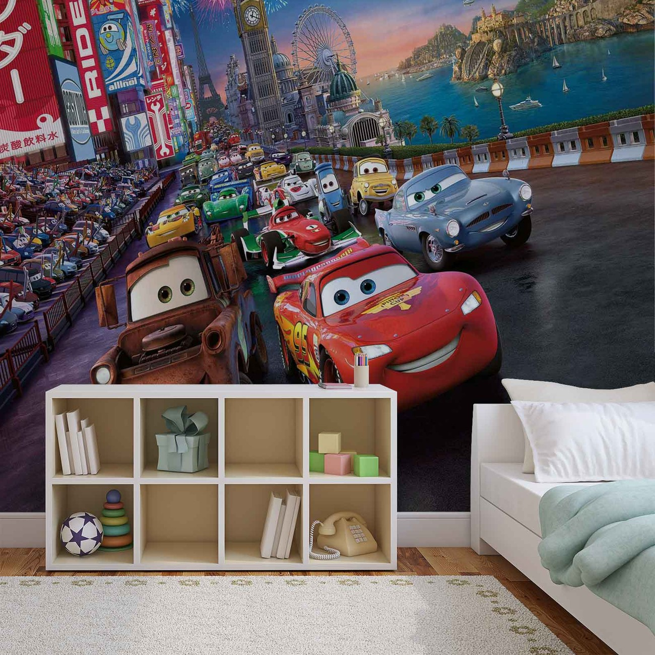 Disney cars lightning mcqueen mater wall paper mural buy for Disney cars wall mural uk