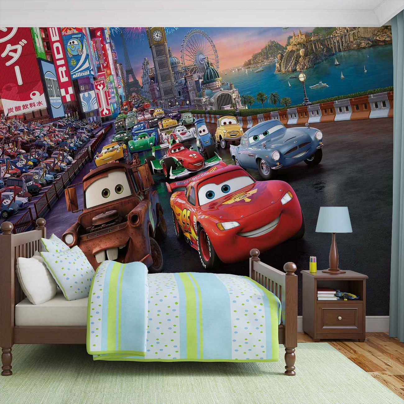 Disney cars lightning mcqueen mater wall paper mural buy for Disney cars wall mural