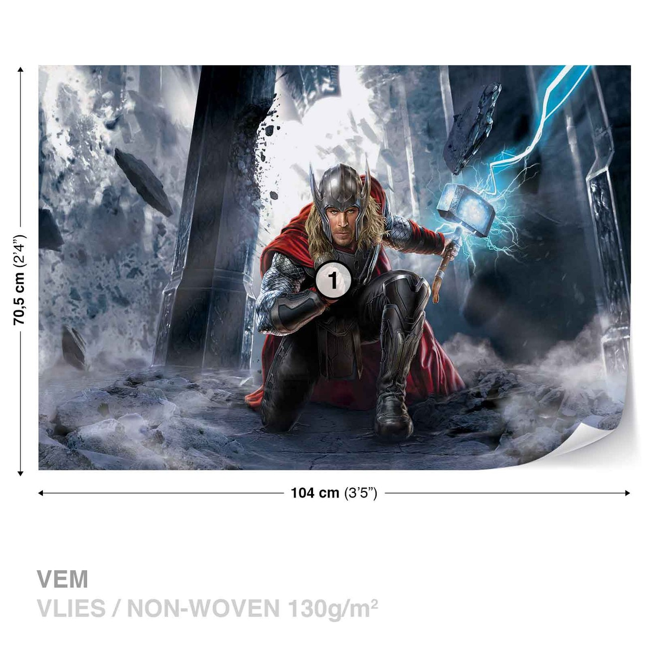 Marvel avengers thor wall paper mural buy at europosters for Avengers wall mural uk