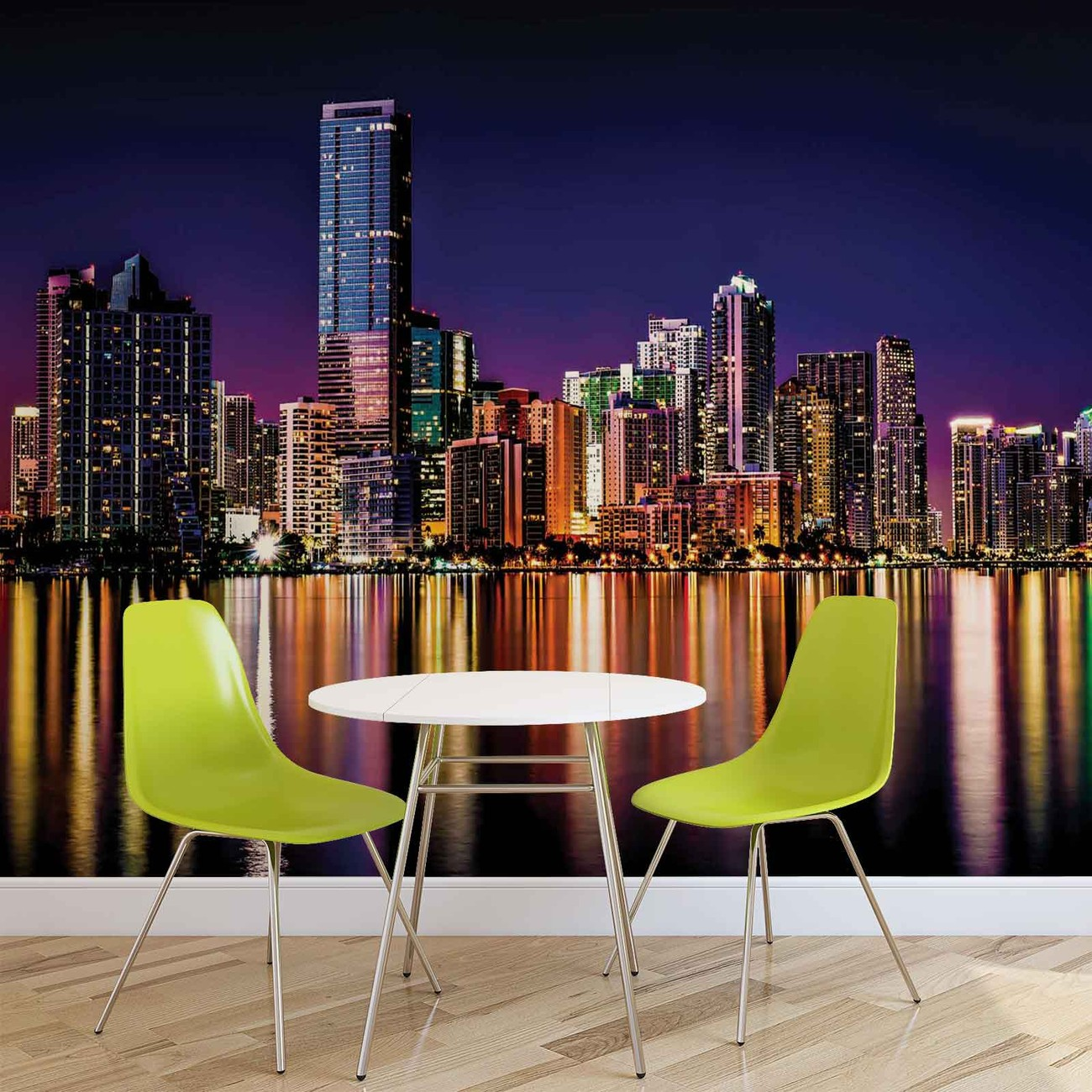 City new york skyline night wall paper mural buy at for Acheter poster mural new york