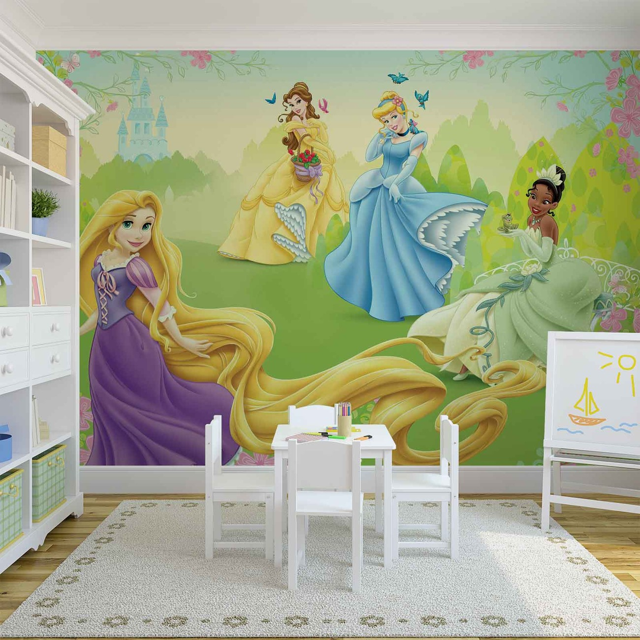 Disney princesses rapunzel tiana belle wall paper mural for Disney princess wall mural tesco