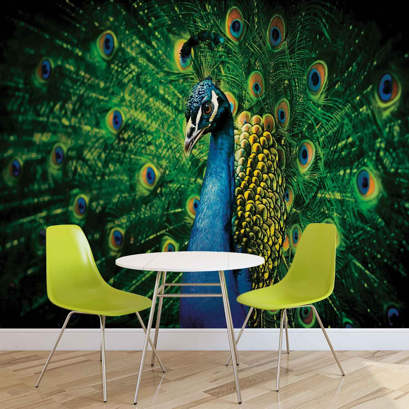 Peacock bird feathers wall paper mural buy at europosters for Bird wall mural