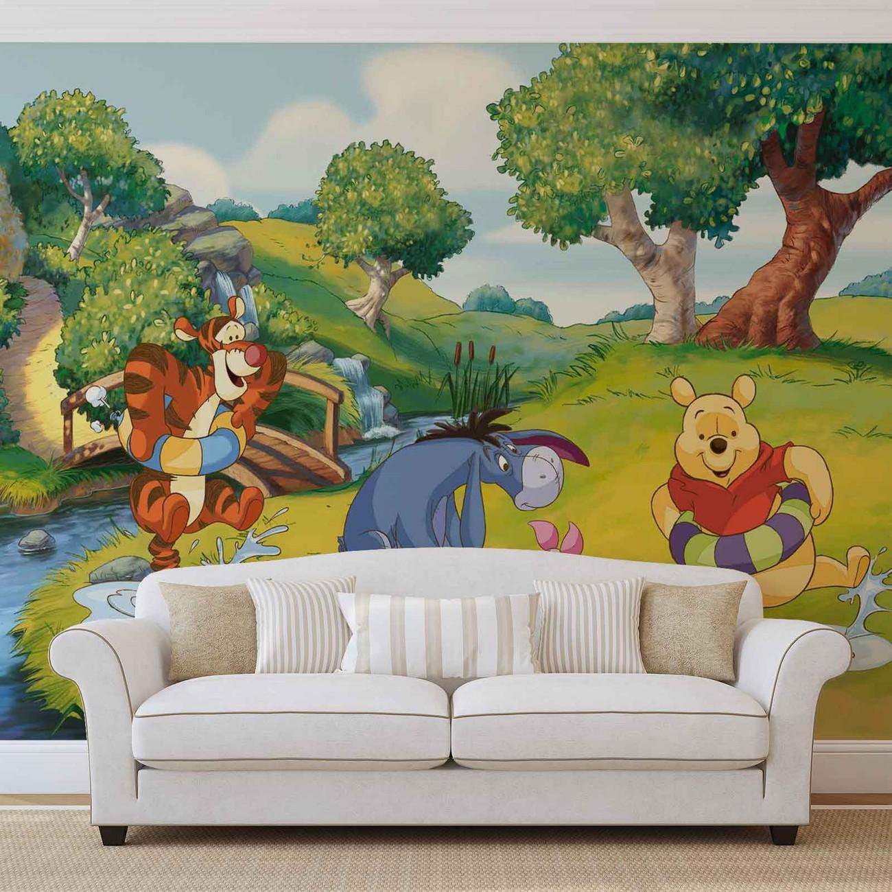 Disney winnie pooh tigger eeyore piglet wall paper mural for Disney wall mural uk