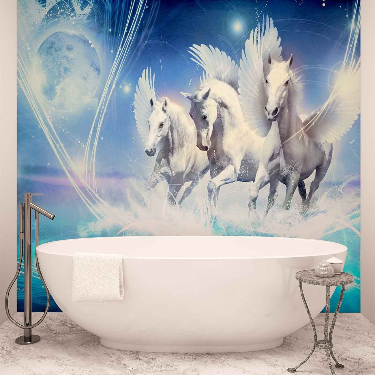 winged horse pegasus blue wall paper mural buy at europosters. Black Bedroom Furniture Sets. Home Design Ideas