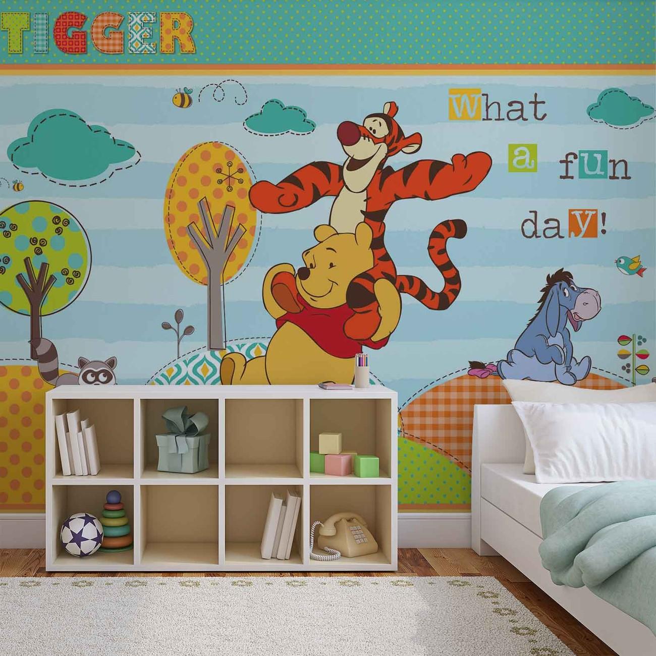 Disney winnie pooh wall paper mural buy at for Disney wall mural