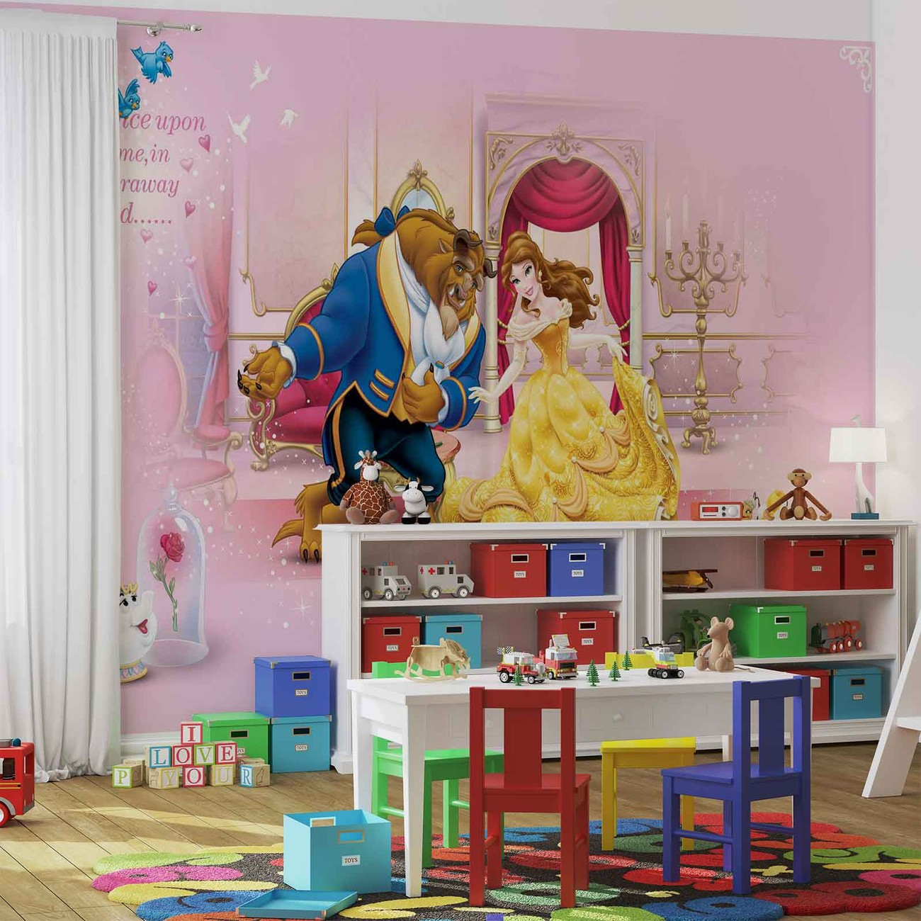 Disney princesses beauty beast wall paper mural buy at for Disney princess mural asda