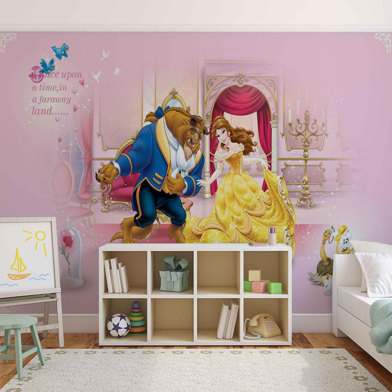 Disney princesses beauty beast wall paper mural buy at for Disney princess wall mural tesco