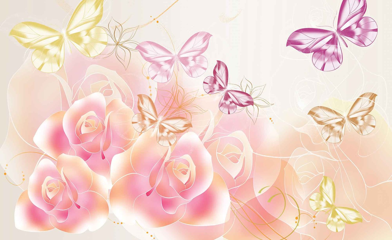butterflies flowers roses wall paper mural buy at europosters