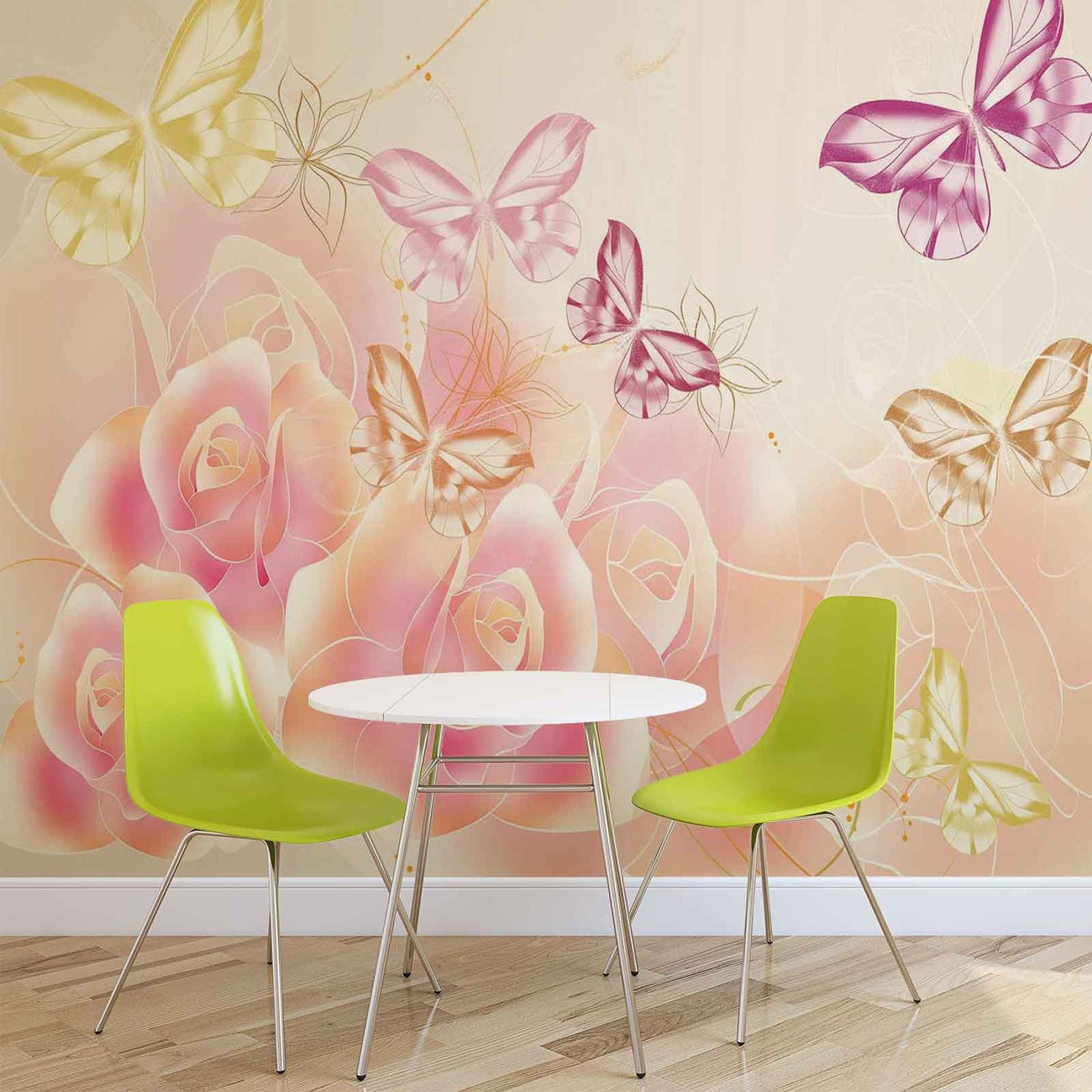 Butterflies flowers roses wall paper mural buy at for Mural of flowers