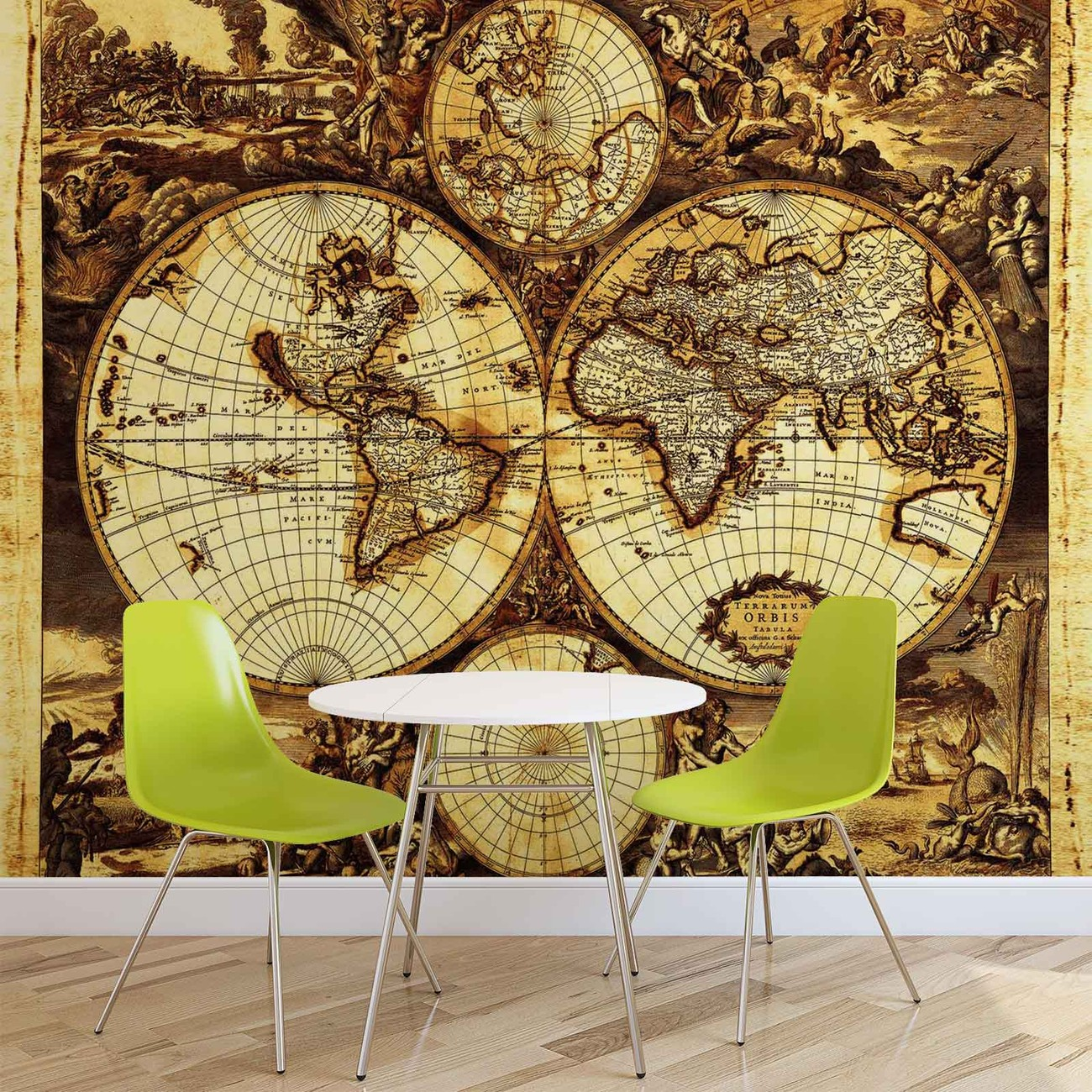 World map vintage wall paper mural buy at europosters for Antique map mural