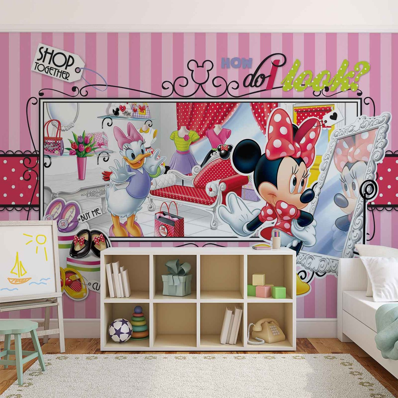 Disney minnie mouse daisy duck wall paper mural buy at for Daisy fuentes wall mural