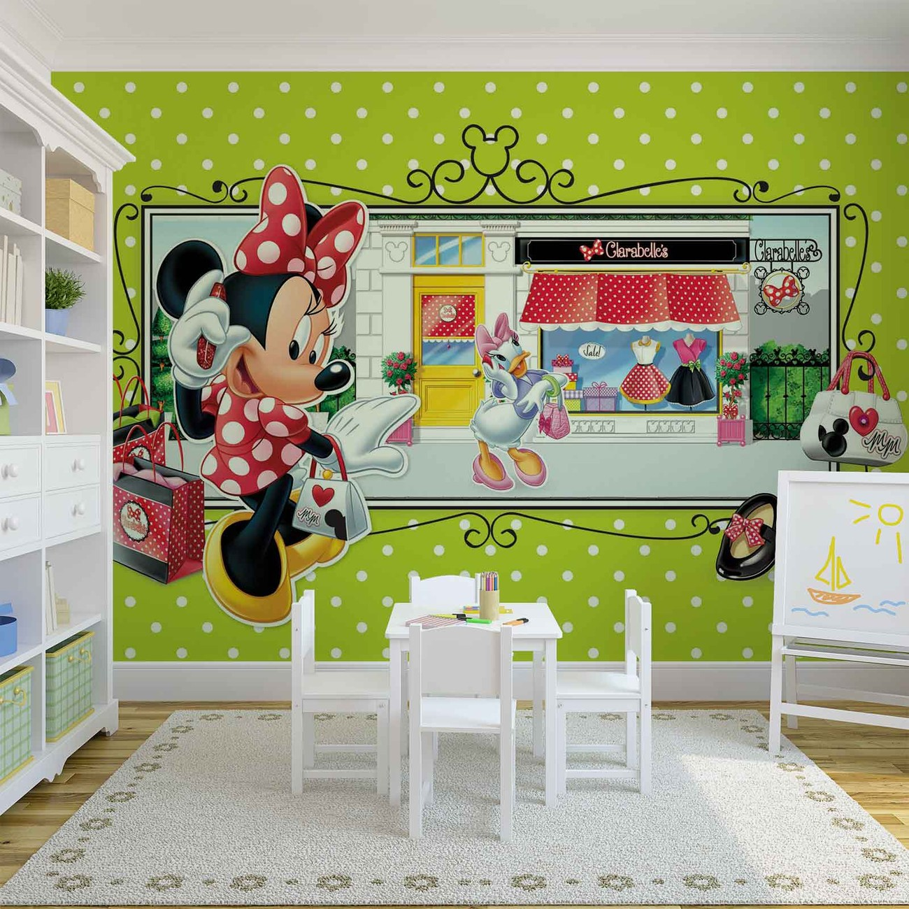 Disney minnie mouse wall paper mural buy at europosters for Disney wall mural uk