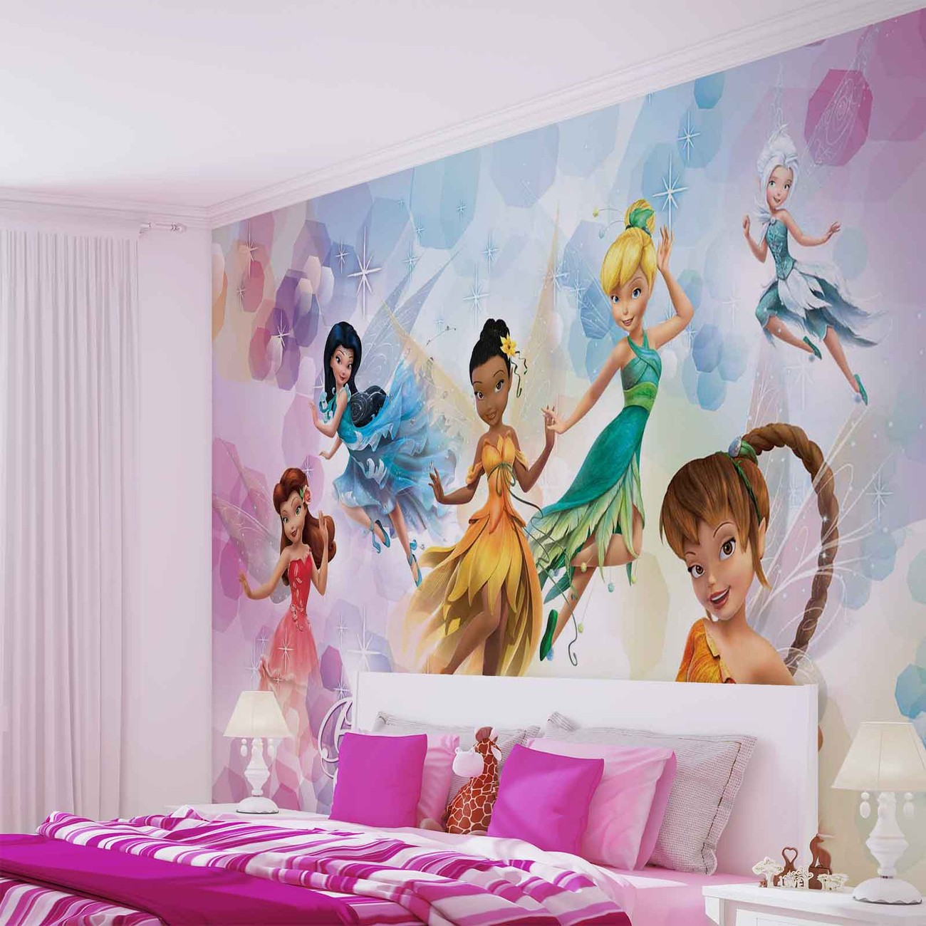 Disney fairies iridessa fawn rosetta wall paper mural for Fairies wall mural