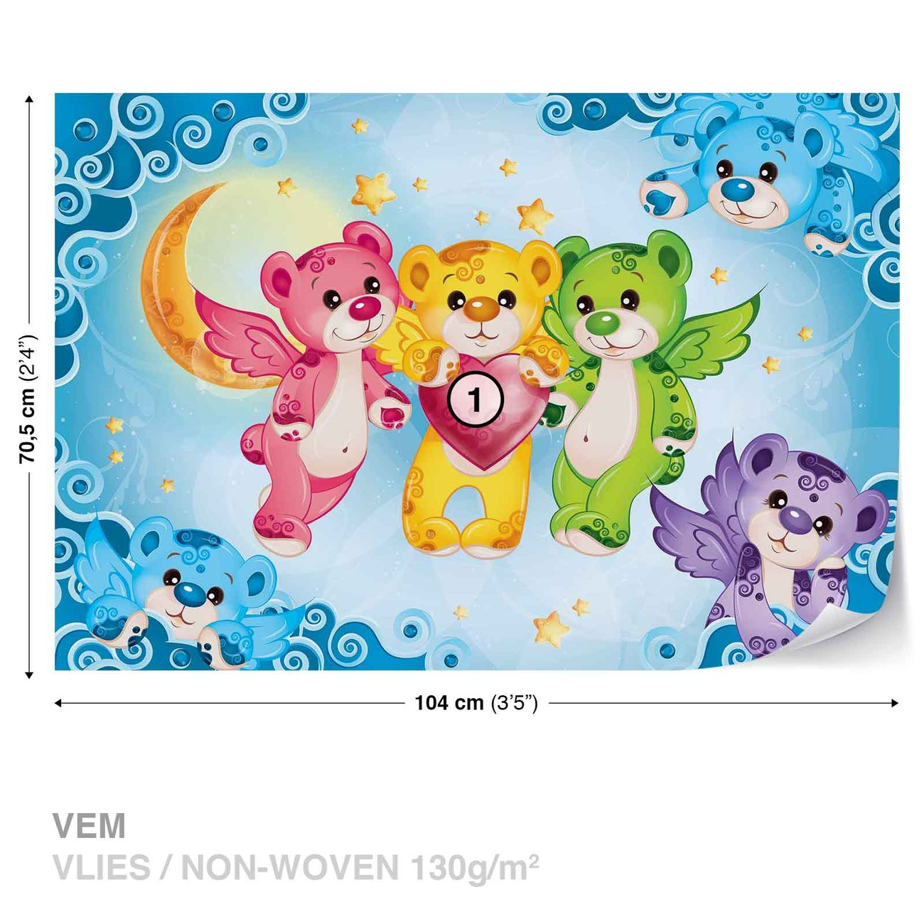 Care bears heart wall paper mural buy at for Care bears wall mural
