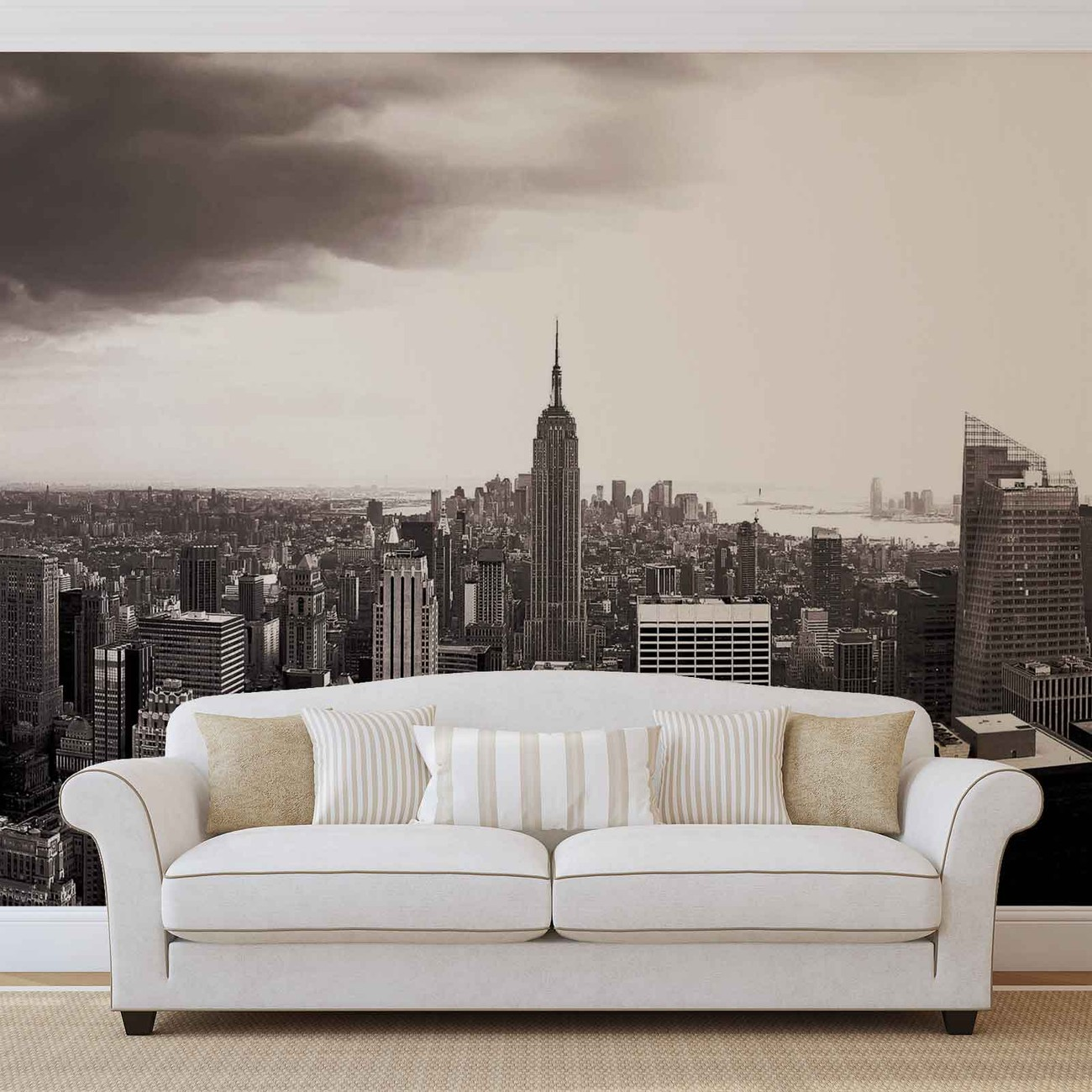 City new york skyline empire state wall paper mural buy for Poster mural geant new york