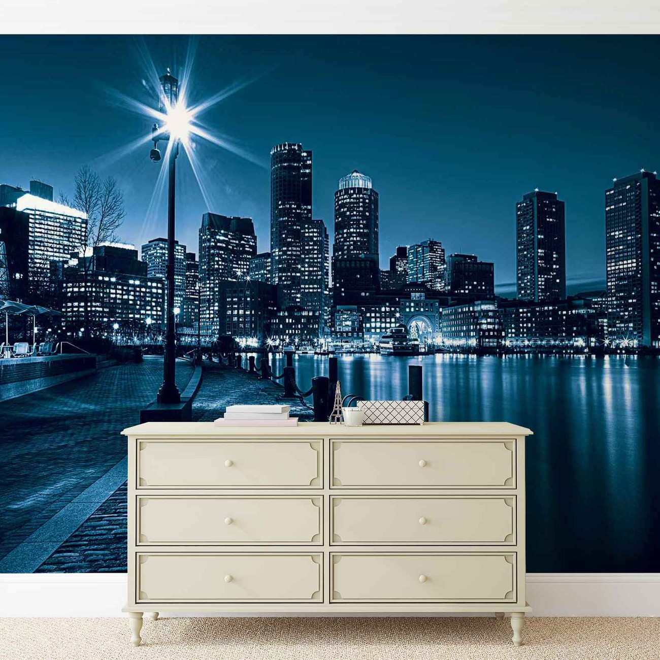 City boston skyline wall paper mural buy at europosters for City skyline wall mural