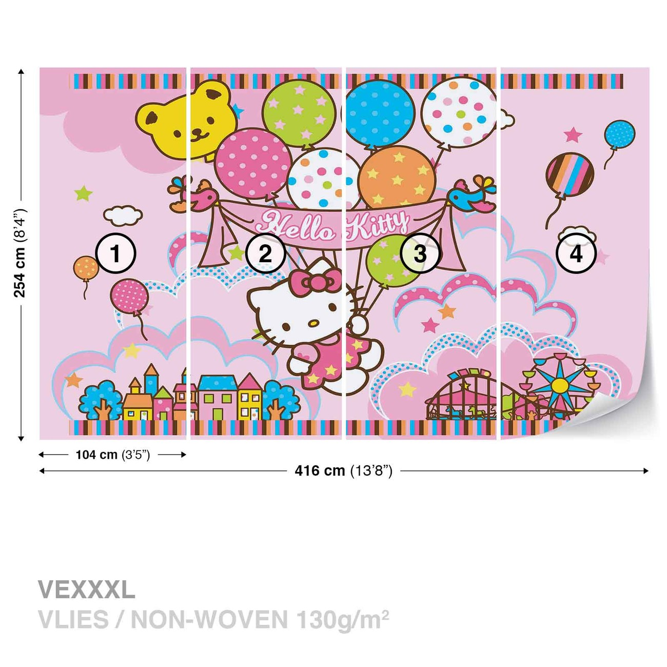 hello kitty wall mural for your home buy at abposters com hello kitty wall mural 304x243cm 163 7 99 picclick uk