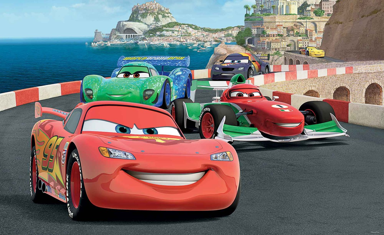 Disney cars lightning mcqueen bernoulli wall paper mural for Car wallpaper mural