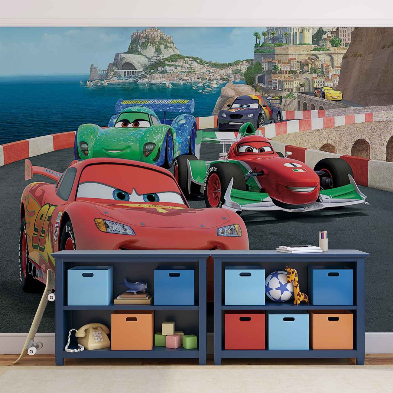 Disney cars lightning mcqueen bernoulli wall paper mural for Disney cars mural