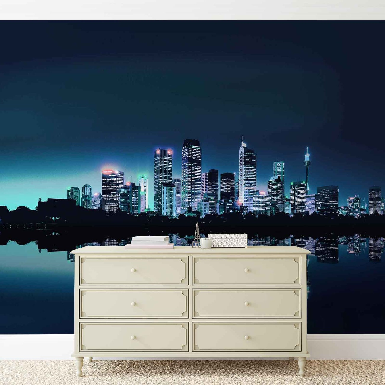 City skyline wall paper mural buy at europosters for Cityscape wall mural
